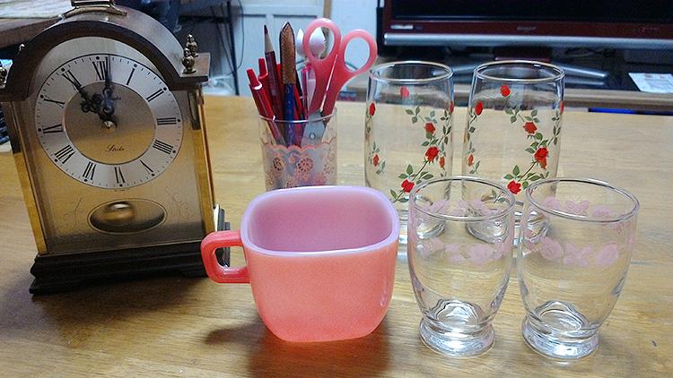 グラスベイク リプトンスープマグ 赤、アンカーホッキング ローズ赤 タンブラー、ヴインテージ ピンク グースベリー タンブラー